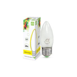Лампа накаливания СВЕЧА B35 40Вт 230В E27 матовая 380Лм ASD