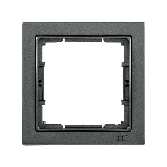 Рамка 1-местная квадратная РУ-1-БА BOLERO Q1 антрацит IEK