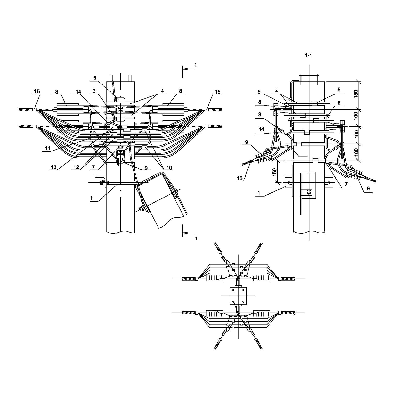 Опора А34 ж/б анкерная концевая двухцепная с ответвлением в две стороны 2хСИП4-2 IEK