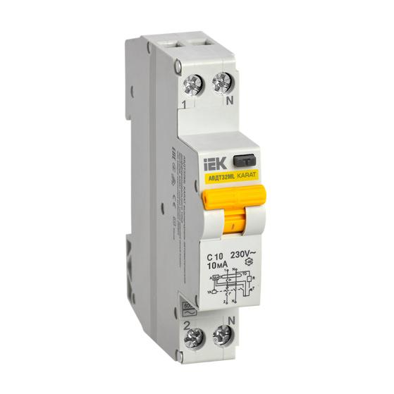 Выключатель автоматический дифференциального тока АВДТ32МL C10 10мА KARAT IEK
