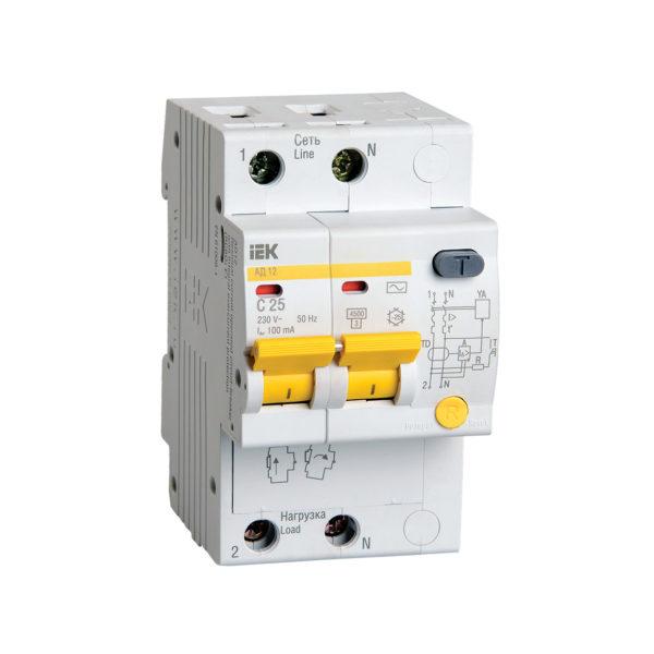 Дифференциальный автоматический выключатель АД12 2Р 25А 100мА IEK