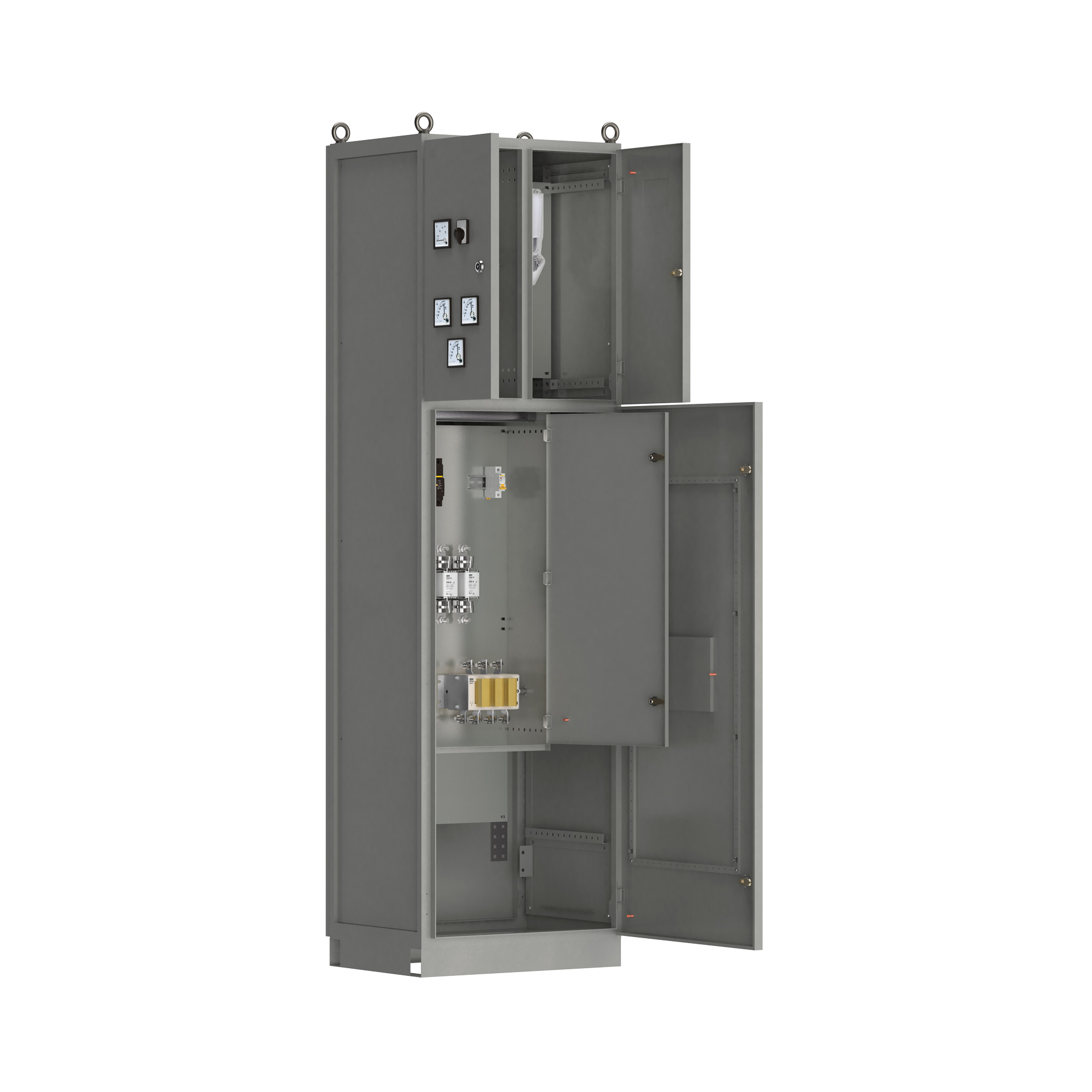 Панель вводная ВРУ-8503 МУ 2ВП-5-25-0-30 рубильник 1х250А плавкие вставки 3х250А выключатель автоматический 1Р 1х6А и учет IEK