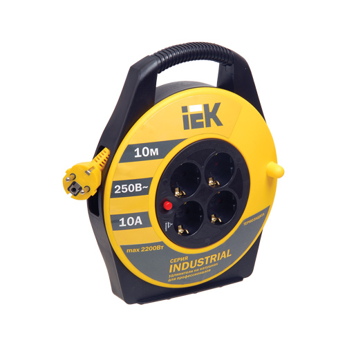 Катушка УК10 с термозащитой 4 места 2P+PE/10м 3х1,5мм2 INDUSTRIAL IEK