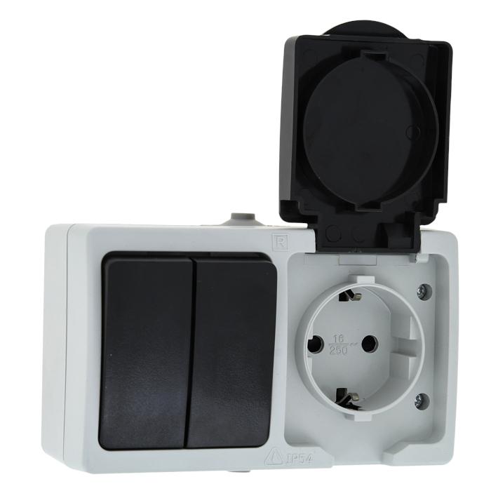 Блок розетка-выкл. 2-кл. 16А с/з с крышкой IP54 сер. с защ. штор. Венеция EKF PROxima