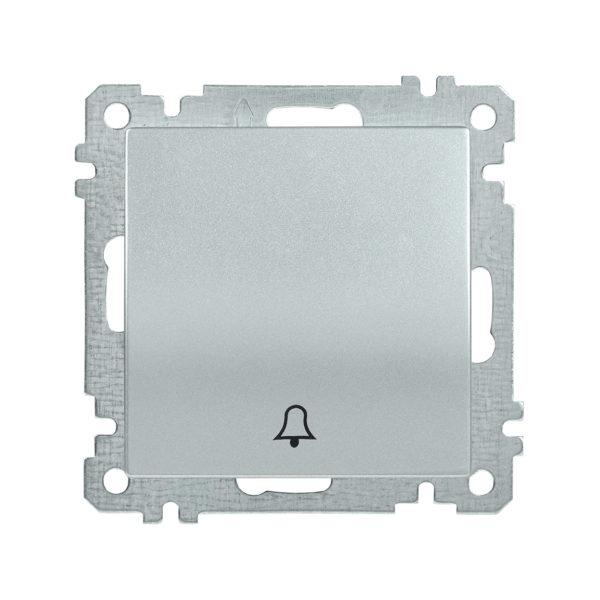 Выключатель 1-клавишный кнопочный звонок ВС10-1-4-Б 10А BOLERO серебряный IEK