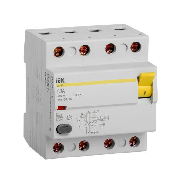 Выключатель дифференциальный (УЗО) ВД1-63 4Р 63А 100мА тип А IEK