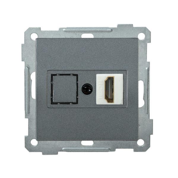 Розетка HDMI РHDMI-0-Б BOLERO антрацит IEK