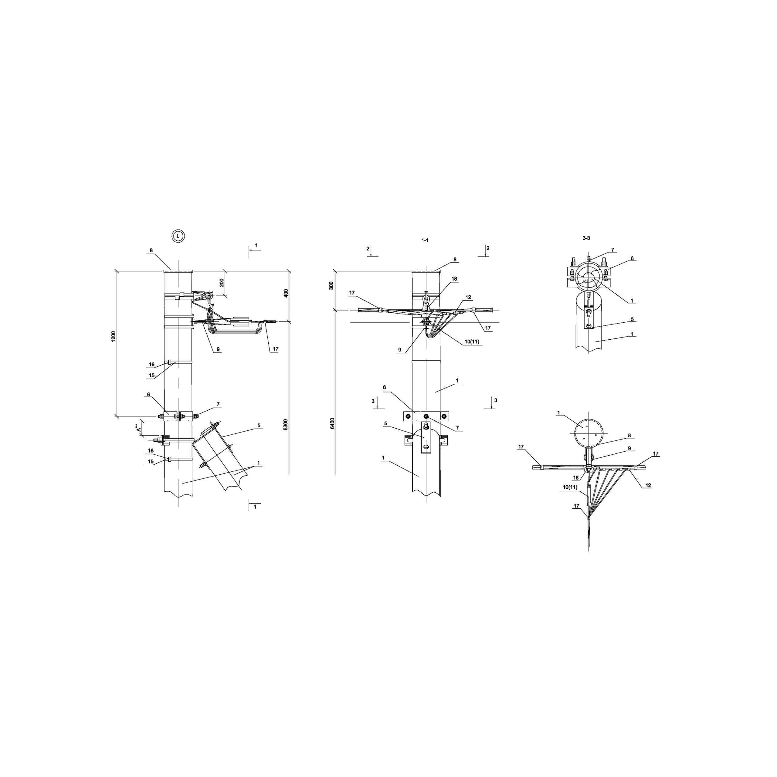 Опора ОАд15 деревянная анкерная ответвительная одноцепная IEK
