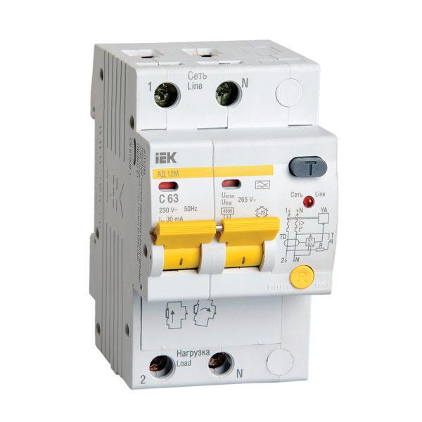 Дифференциальный автоматический выключатель АД12М 2Р С63 30мА IEK