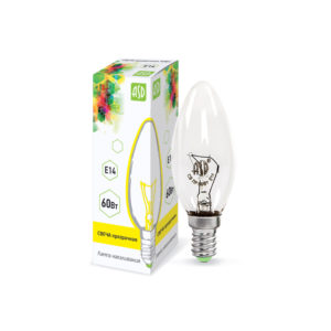 Лампа накаливания СВЕЧА B35 60Вт 230В Е14 прозрачная 630Лм ASD