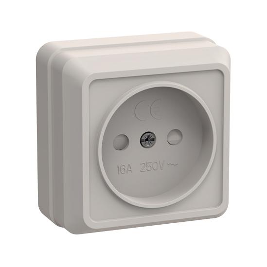 Розетка 1-местная для открытой установки РСш20-2-ОКм без заземляющего контакта с защитной шторкой 10А ОКТАВА кремовый IEK