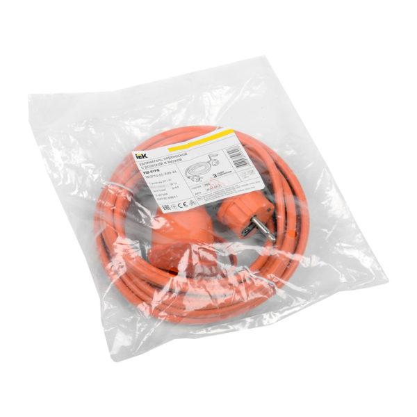 Шнур УШ-01РВ с вилкой и розеткой 2P+PE/5м 3х1,0мм2 IP44 оранжевый IEK