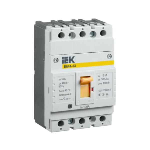 Выключатель автоматический ВА44-33 3Р 100А 15кА IEK