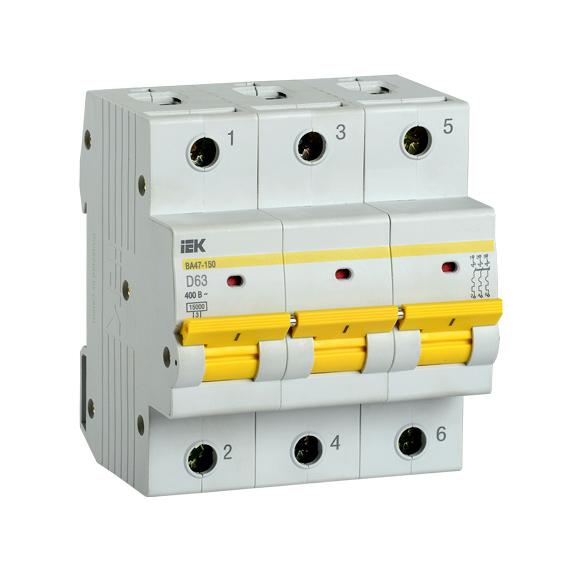 Выключатель автоматический ВА47-150 3Р 63А 15кА D IEK
