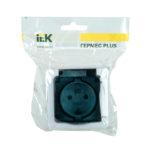 Розетка 1-местная для открытой установки РСб20-3-ГПБд с заземляющим контактом IP54 ГЕРМЕС PLUS (цвет крышки:дымчатый) IEK 2