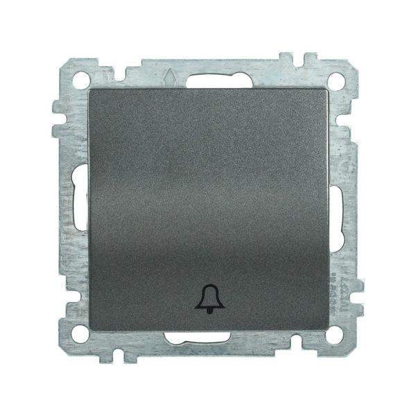 Выключатель 1-клавишный кнопочный звонок ВС10-1-4-Б 10А BOLERO антрацит IEK