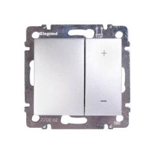 Светорегулятор клавишный Legrand VALENA, 400 Вт, клавишный, с возможностью управления с 2-х мест, алюминий