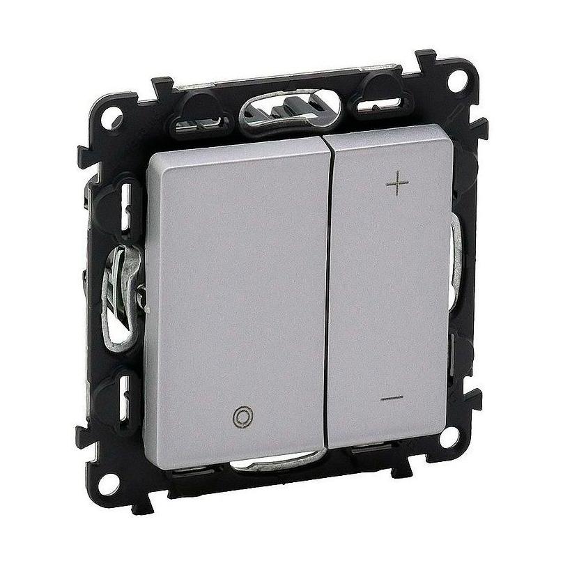 Светорегулятор клавишный Legrand VALENA LIFE, 400 Вт,для LED 5-75 ВА Valena Life, с возможностью управления с 2-х мест, алюминий