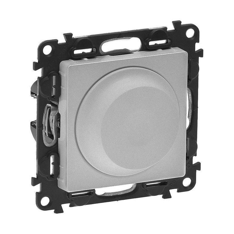 Светорегулятор поворотно-нажимной Legrand VALENA LIFE, 300 Вт, для LED 5-75 ВА, алюминий