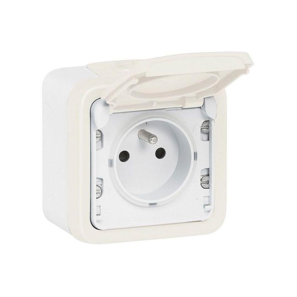 Plexo55 Коробка 1-ная для накл. монтажа с сальниками, белая