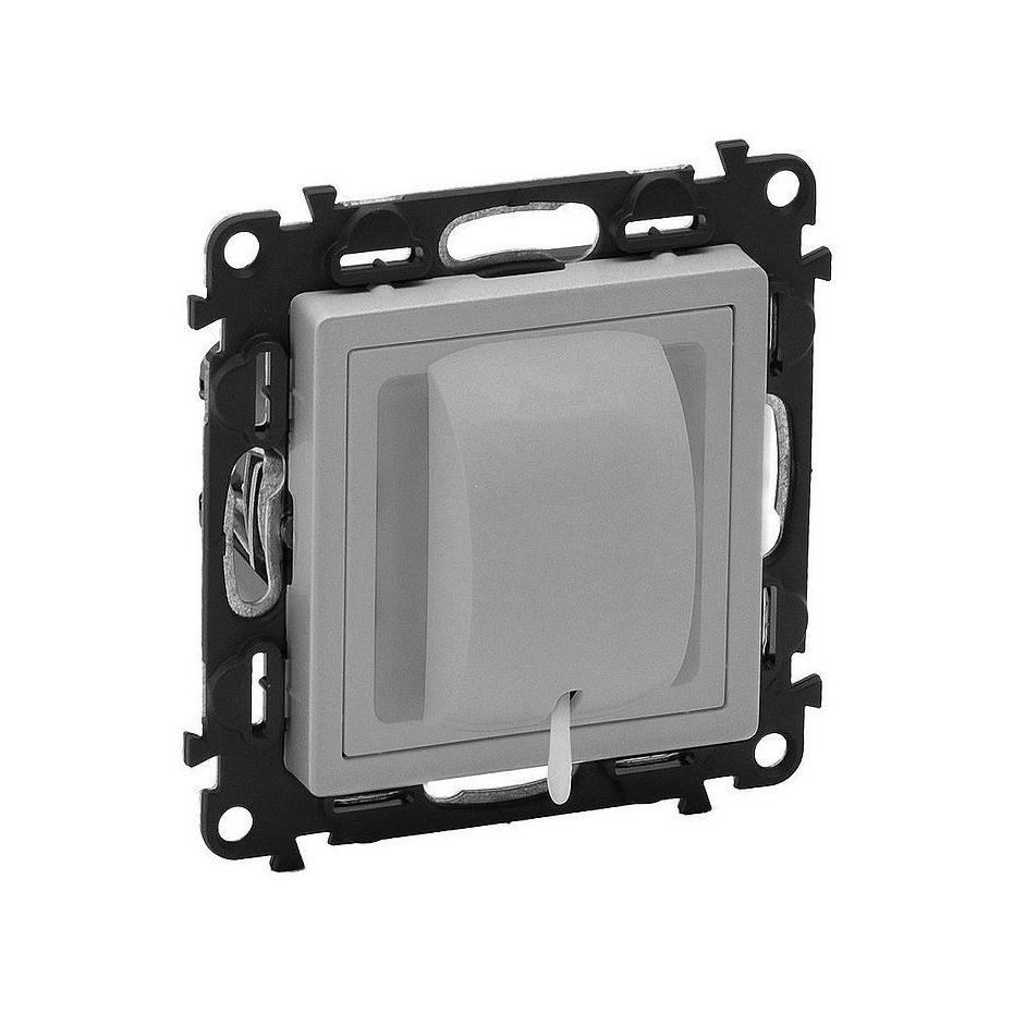 Valena Life Выключатель кнопочный 6А 250В~ со шнуром, с лицевой панелью, безвинт. зажимы, алюм.
