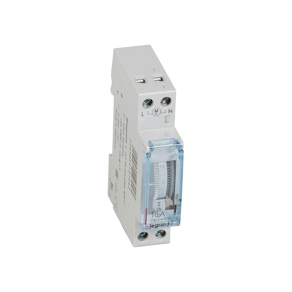 Недельный таймер - аналоговый - вертикальная шкала - 230 В~ - 1 Н.О. - 16 А - 250 В~ - запас хода 10
