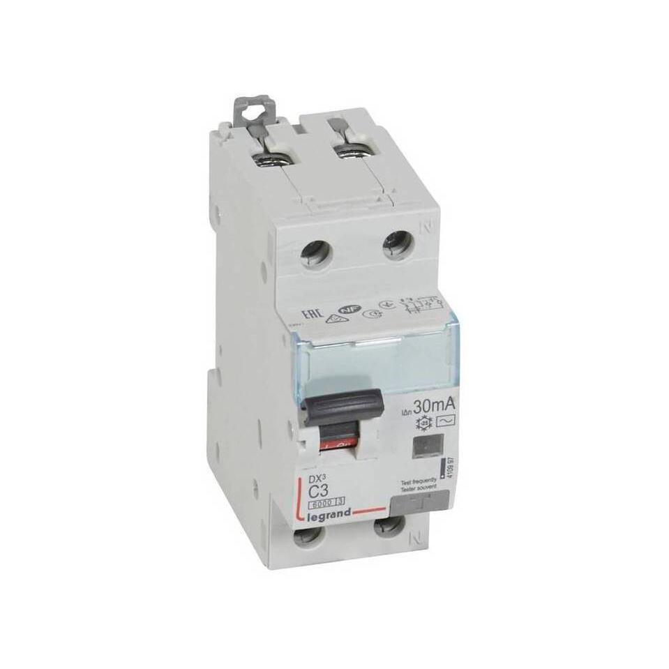 Дифавтомат Legrand DX³ 1P+N 3А (C) 6кА 30мА (AC)