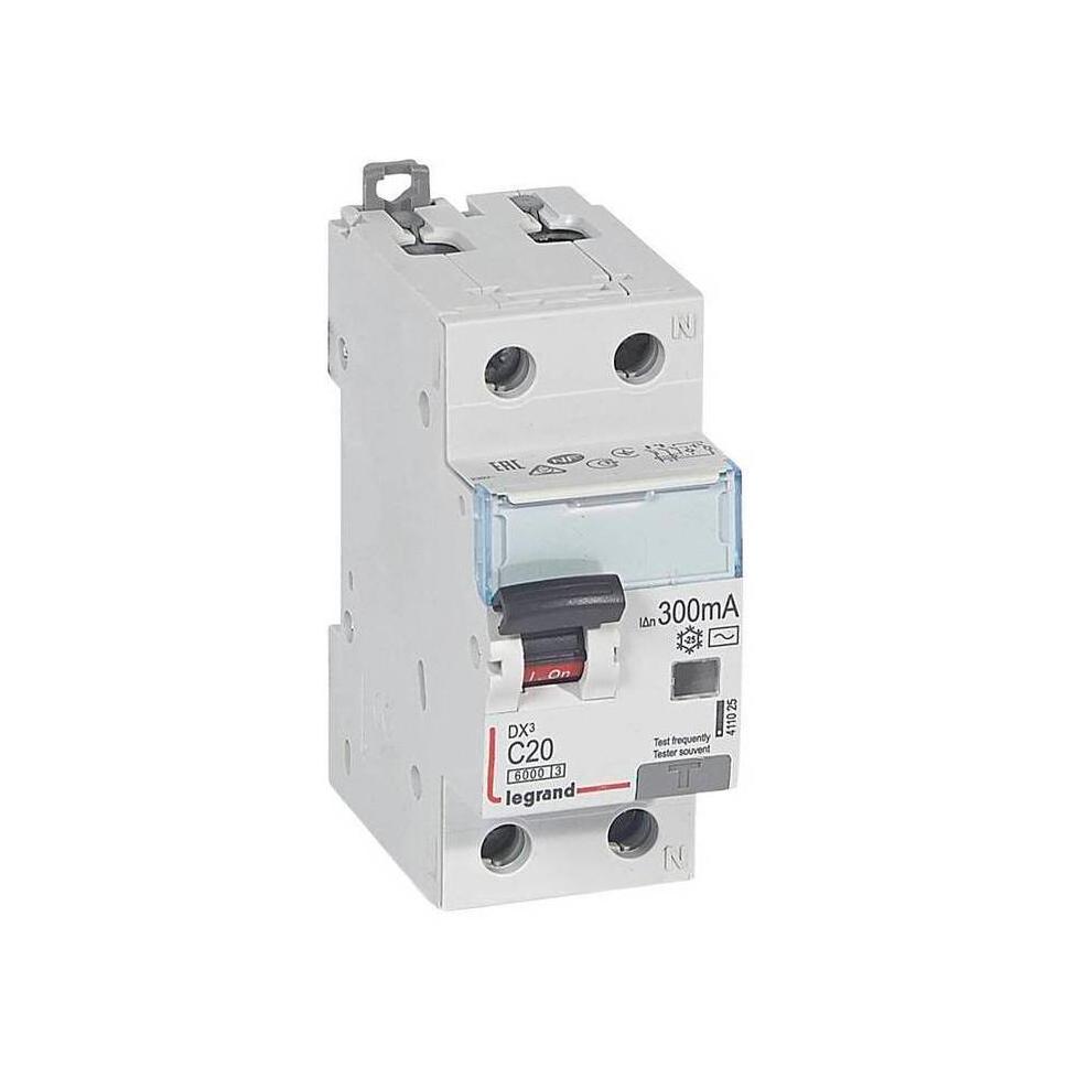 Дифавтомат Legrand DX³ 1P+N 20А (C) 6кА 300мА (AC)