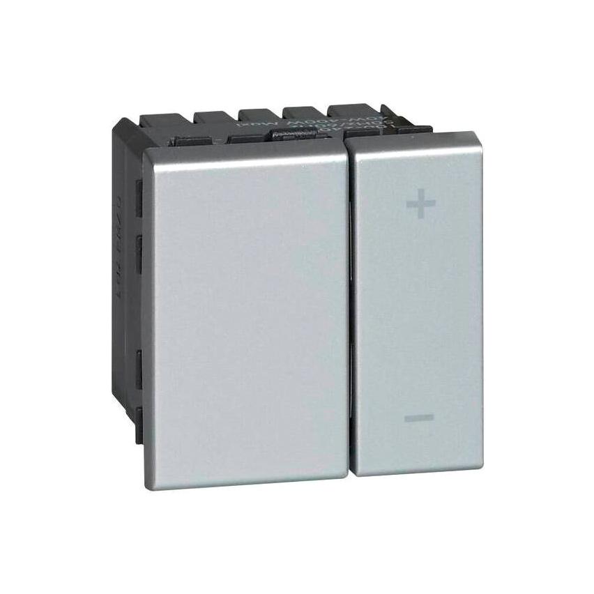 Светорегулятор Legrand MOSAIC, 400 Вт, для LED 3-75 ВА, клавишный, с возможностью управления с 2-х мест, алюминий