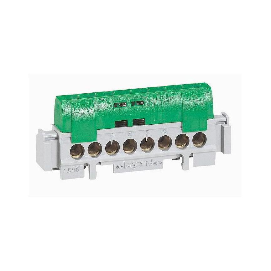 Клеммная колодка IP 2X - земля - зеленая - 1 x 6-25 мм² - 21 x 1,5-16 мм² - длина 176 мм