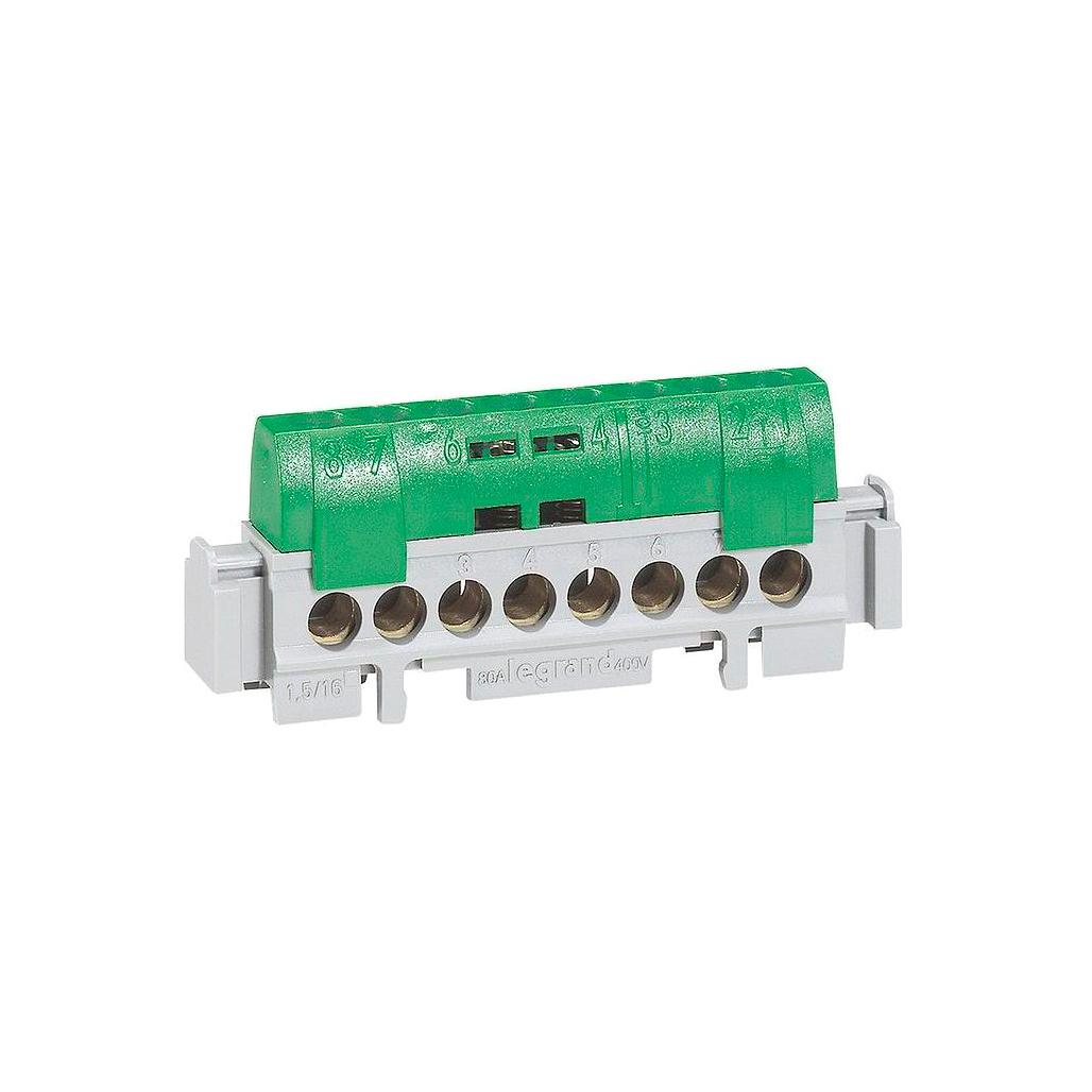 Клеммная колодка IP 2X - земля - зеленая - 8 x 1,5-16 мм² - длина 75 мм