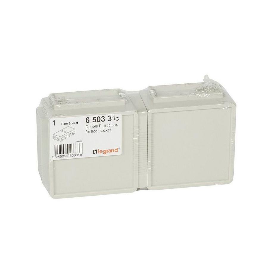 Монтажная коробка для выдвижного розеточного блока - 6 модулей - пластик