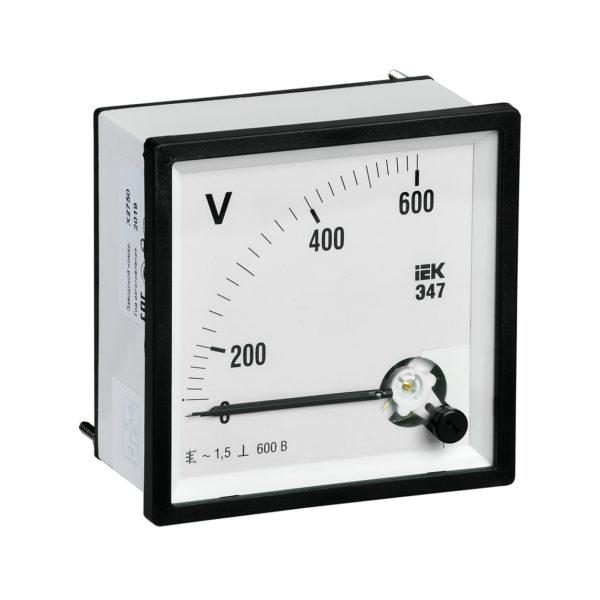 Вольтметр аналоговый Э47 600В класс точности 1,5 96х96мм IEK