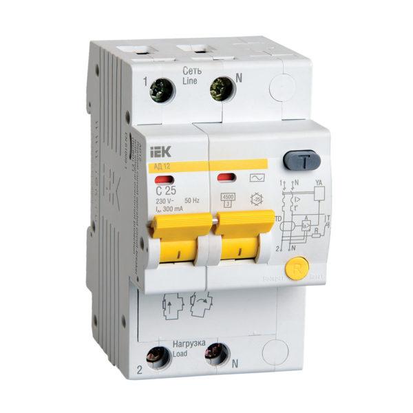 Дифференциальный автоматический выключатель АД12 2Р 25А 300мА IEK