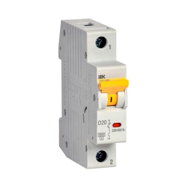 Выключатель автоматический ВА47-60МА без теплового расцепителя 1P 20А 6кА D IEK