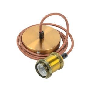 Патрон подвесной Пал27-04-К52 E27 со шнуром 1,5м RETRO золото IEK