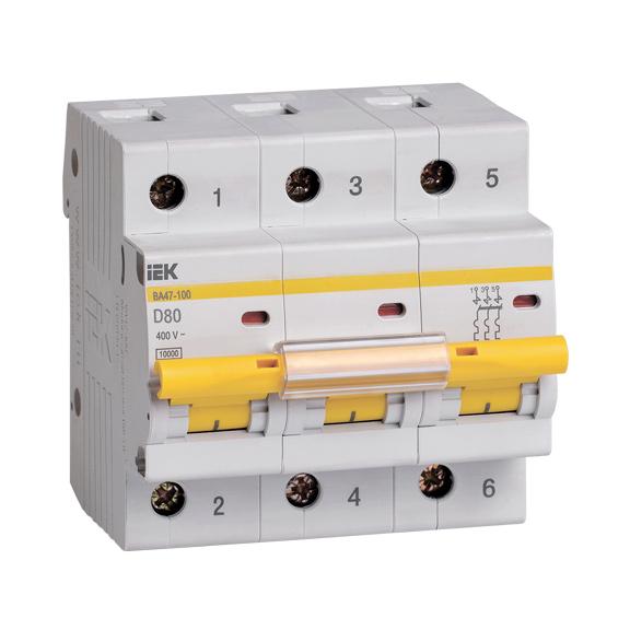 Выключатель автоматический ВА47-100 3Р 80А 10кА D IEK