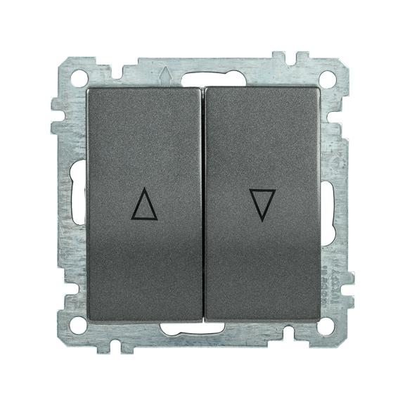 Выключатель 2-клавишный жалюзи ВС10-1-5-Б BOLERO антрацит IEK
