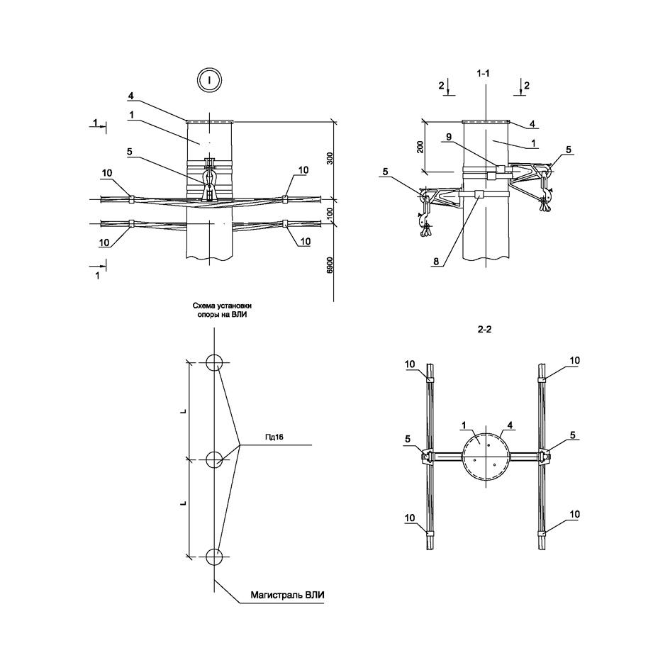 Опора Пд16 деревянная промежуточная двухцепная IEK