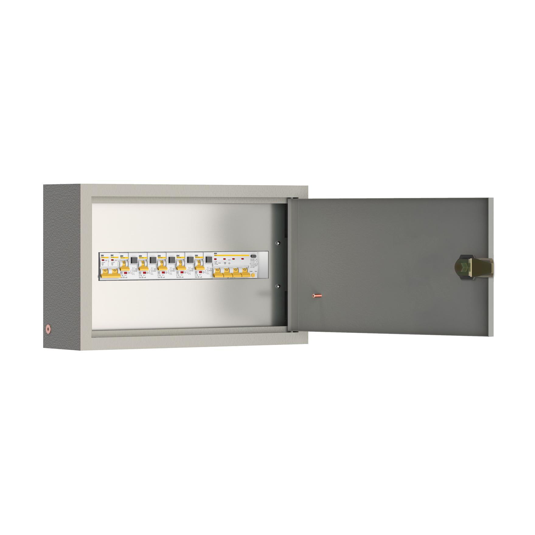 Щит квартирный встраиваемый ЯК1-40-1-5-В-1 АВДТ 1х40А 30мА выключатели автоматические 1Р 4х16А 1х32А IEK