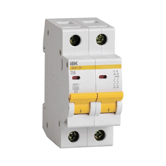 Выключатель автоматический ВА47-29 2Р 8А 4,5кА D IEK