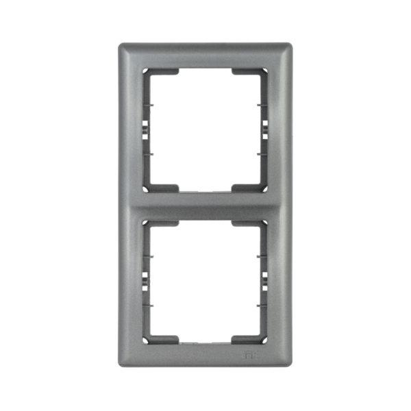 Рамка 2-местная вертикальная РВ-2-БА BOLERO антрацит IEK