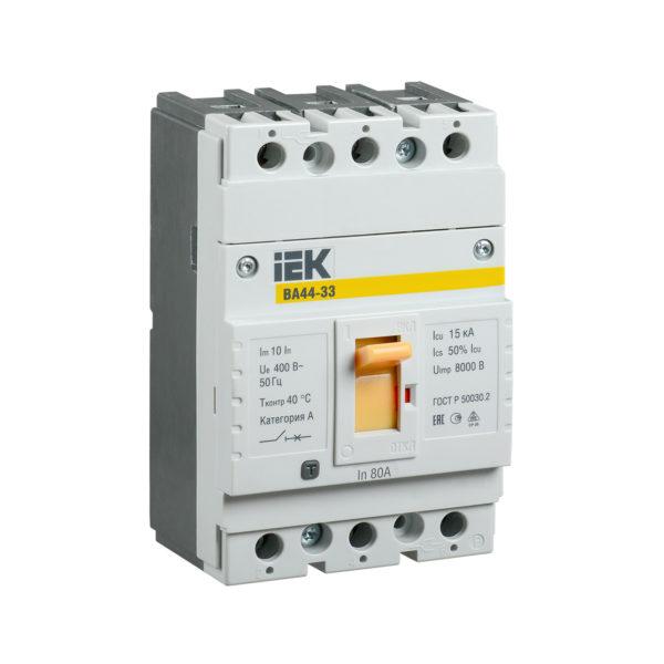 Выключатель автоматический ВА44-33 3Р 80А 15кА IEK