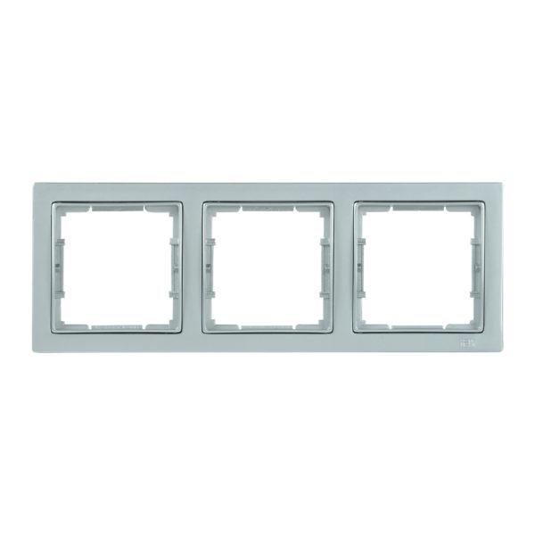 Рамка 3-местная квадратная РУ-3-БС BOLERO Q1 серебряный IEK