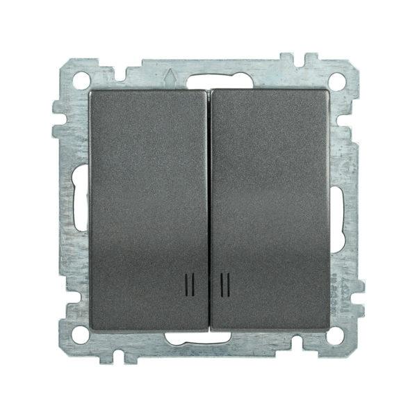 Выключатель 2-клавишный с индикацией ВС10-2-1-Б 10А BOLERO антрацит IEK
