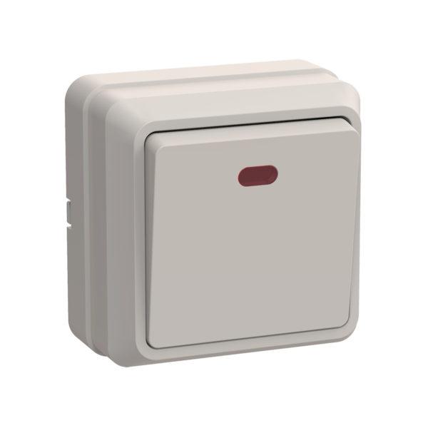 Выключатель 1-клавишный для открытой установки с индикацией ВС20-1-1-ОКм 10А ОКТАВА кремовый IEK