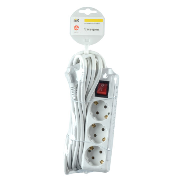 Удлинитель У03К-выкл. 3 места 2P+PE/3м 3х1мм2 16А/250В IEK