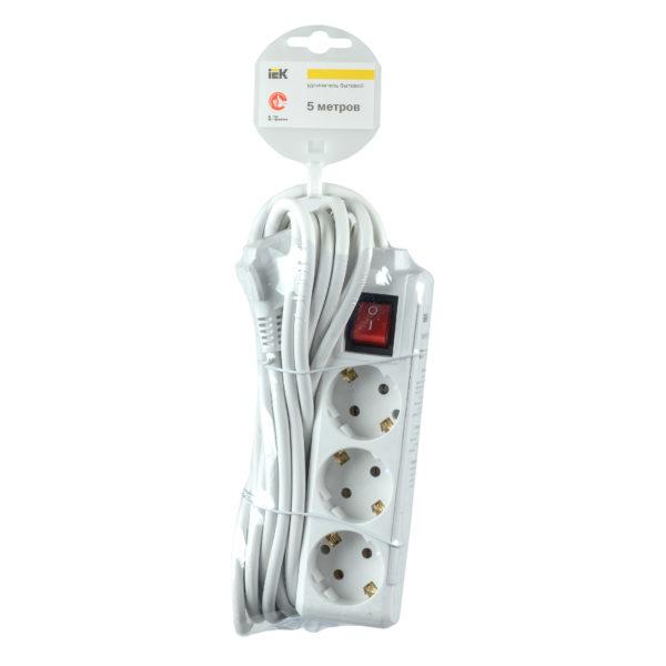 Удлинитель У03К-выкл. 3 места 2P+PE/5м 3х1мм2 16А/250В IEK