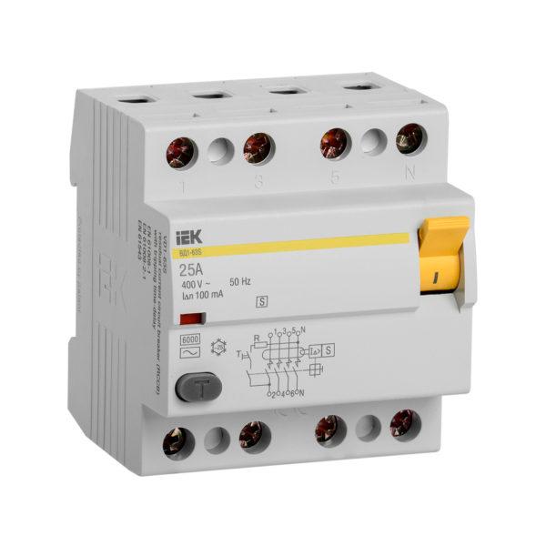 Выключатель дифференциальный (УЗО) ВД1-63S 4Р 25А 100мА IEK