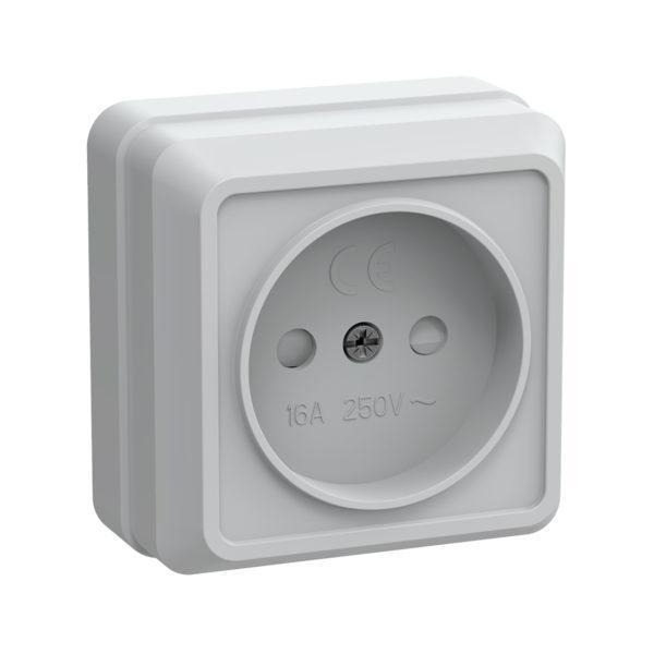 Розетка 1-местная для открытой установки РСш20-2-ОБ без заземляющего контакта с защитной шторкой 10А ОКТАВА белый IEK
